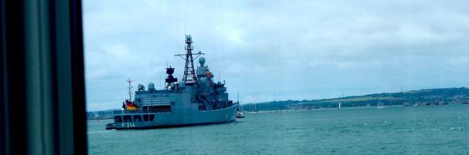 German frigate Lübeck entering Portsmouth harbour 617.JPG