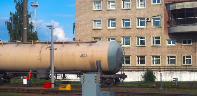 freight gravity wagon is rolling look at the man (shunter?) also signal box? Vitebsk 618.JPG