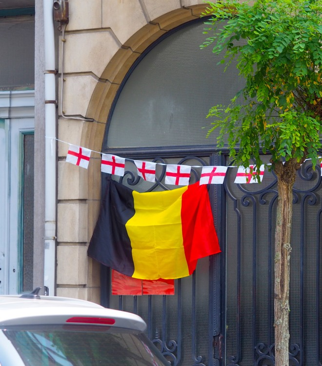 England and Belgium flags our house 718.JPG