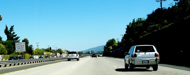 energy public writing CARPOOL IS 2 OR MORE PERSONS PER VEHICLE car San Francisco airport to Aptos 818.JPG
