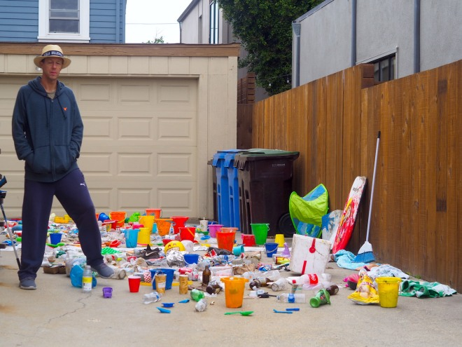 man with a day's worth of rubbish from beach Santa Cruz 818 2.JPG